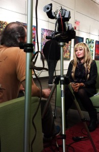 Steve Lloyd interviewing Sanda Cook for her opening at Pittman-Puckett Gallery.